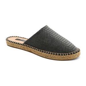 Shoes - Black Kensie Snake Skin Mules